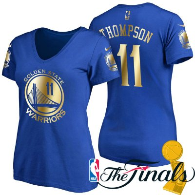 Newest Women's 2017 Finals Golden State Warriors NBA #11 Klay Thompson Royal Gilding Name & Number T Shirt SDI4219
