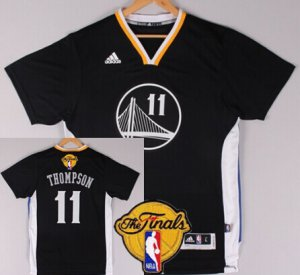 Popular Golden State Warriors #11 Klay Thompson Black Short Clothing Sleeved 2016 The Finals Patch SNR2