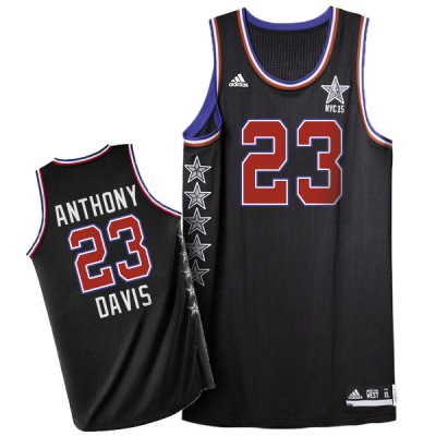 Promotional sale NBA 2015 All Star NYC Western Conference #23 Anthony Davis Black WFJ169