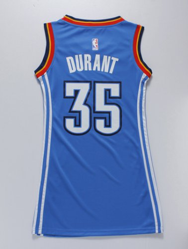 Seiko Cup Women Jersey Oklahoma City Thunder 35 Kevin Durant blue dress TNM4259