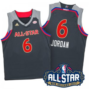 Thin versio 2017 Jersey Orleans All Star Western Conference Clippers #6 DeAndre Jordan Charcoal NOJ340