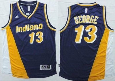 products Jersey Pacers #13 Paul George Navy Blue/Yellow Throwback Stitched WCS2009