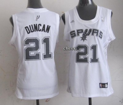 2018 Cheap Women San Antonio Gear Spurs #21 Duncan white RRR4327