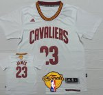 Authentic Cleveland Cavaliers #23 LeBron James Clothing 2016 The Finals Patch White Short Sleeved IMN281