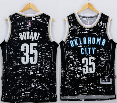 Hight Quality Thunder Merchandise #35 Kevin Durant Black City Light Stitched UPI3109