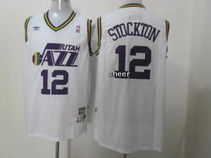 New Arrival 2018 Throwback Utah Jazz #12 stockton Apparel white ATC4128
