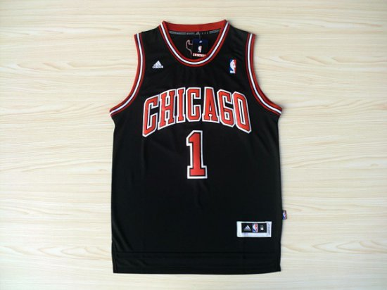 new styles 7e67a c4796 New Trend Derrick Rose Bulls #1 Jersey Throwback Black ...