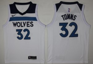 Online Hot Men's Minnesota Timberwolves Jersey #32 Karl Anthony Towns White 2017 Nike Swingman Stitched BUQ2860