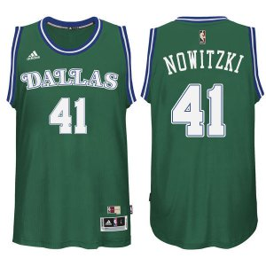 Temperament Dirk Jerseys Nowitzki Mavericks #41 Green Hardwood Classics XXD1280