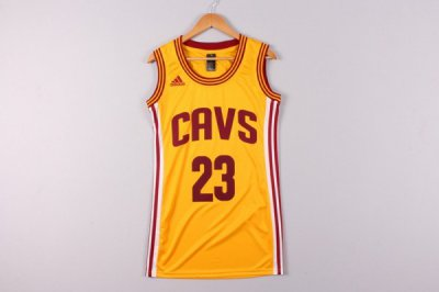 2018 Cheap Online Women Cleveland Cavaliers 23 LeBron James yellow Jersey Dress DYU4338