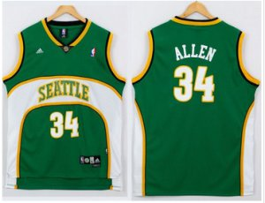 2018 Online Cheap Oklahoma City Thunder #34 Ray Allen Clothing Green Seattle SuperSonics Style Stitched PTG3803
