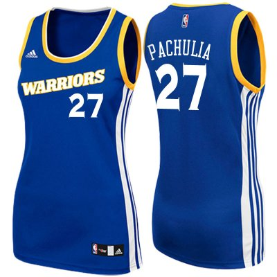 Authentic Women's 2017 Mother's Day Golden Jerseys State Warriors #27 Zaza Pachulia Crossover Royal Swingman COZ4237