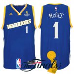 Famous brand 2017 Finals Champions Patch Golden State Warriors #1 JaVale McGee Blue Crossover Basketball Swingman IIA1558