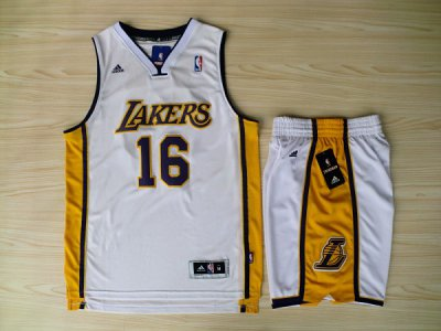 Hot 2018 Revolution 30 Shorts Los Angeles Jerseys Lakers #16 Pau Gasol Swingman White Road Rev Basketball Suits HPR4511