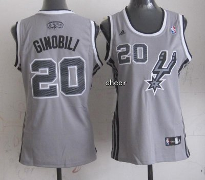 Hot Cheap Sale Women San Antonio Spurs #20 Jersey ginobili grey KAC4324