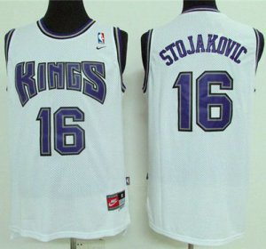 New Kings #16 Apparel Peja Stojakovic White Throwback Stitched AMV3552