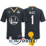 New Style 2017 Finals Champions Apparel Patch Golden State Warriors #1 JaVale McGee Black Sleeved Swingman JAH1557