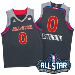 Online Hot 2017 Orleans All Star Western Conference Thunder #0 Russell Westbrook Clothing Charcoal NYG345