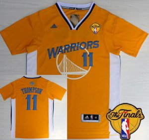 Online Hot Clothing Golden State Warriors #11 Klay Thompson Yellow Short Sleeved 2016 The Finals Patch LSU9
