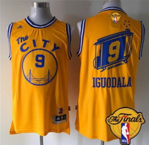 Online sales Golden State NBA Warriors #9 Andre Iguodala 2015 16 Retro Yellow 2016 The Finals Patch QRM38