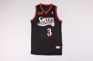 Shop Cheap #3 Iverson 76ers final NBA black (heat applied) GZF3268