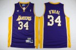 Shop Cheap Los Angeles Lakers #34 Swingman Basketball Shaquille O'Neal Men's Purple GXL2374
