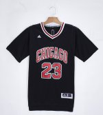 Authentic Chicago Bulls #23 Micheal Jordan Black Basketball T shirt GHE757
