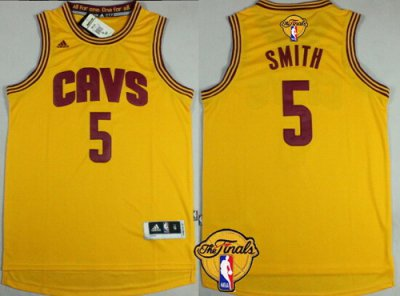 Buy Cheap Online Clothing Cleveland Cavaliers #5 J.R. Smith 2016 The Finals Patch Yellow TIK290