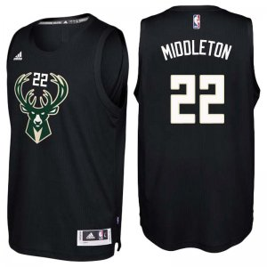 Cheap Buy Online Milwaukee Bucks #22 Khris Middleton Black Gear Swingman HMJ2802