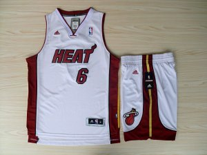 Durable Revolution 30 Shorts Miami Heat #6 Lebron James Swingman White Home Clothing Rev Basketball Suits JDC4524