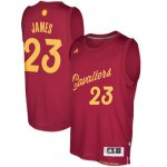 Free delivery Cleveland Cavaliers #23 LeBron James Burgundy 2016 Christmas Jersey Day Swingman ANE951