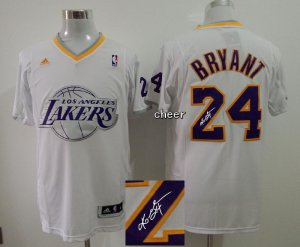 High Quality Christmas Day With player signed Los Angeles Jersey Lakers #24 Bryant White ZAK2491