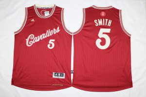 Hot 2018 Cleveland Cavaliers #5 J.R. Smith Burgundy Christmas Basketball Day Swingman Stitched TEA987