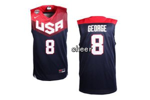 Manufacturer's delivery 2014 FIBA Basketball Apparel World Cup USA #8 George blue CYS4076