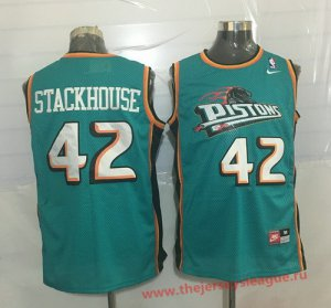 New Style Detroit Clothing Pistons #42 Jerry Stackhouse Teal Green Hardwood Classics Soul Swingman Throwback XNN1389