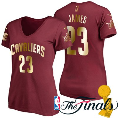 Online Shopping NBA Women's 2017 Finals Cleveland Cavaliers #23 LeBron James Wine Gilding Name & Number T Shirt GEG4244