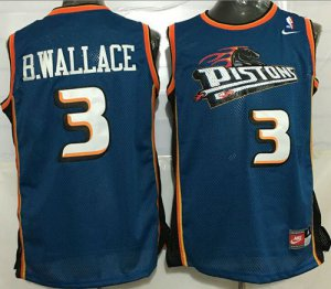 Shop Cheap Pistons Jerseys #3 Ben Wallace Blue Throwback Stitched BQK1413