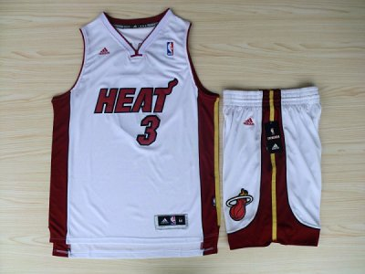 Unique Revolution 30 Shorts Miami Heat #3 Jersey Dwyane Wade Swingman White Home Rev Basketball Suits PMI4518