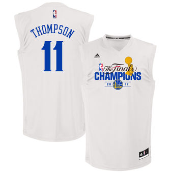 100% Hight Quality Golden State Basketball Warriors Klay Thompson White 2017 Finals Champions Replica GSA1588