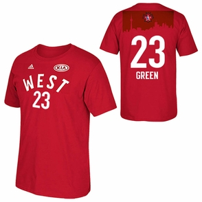 Attractive Golden State Warriors 2016 Clothing AllStar Draymond Green 23 Western Red T shirt REB305