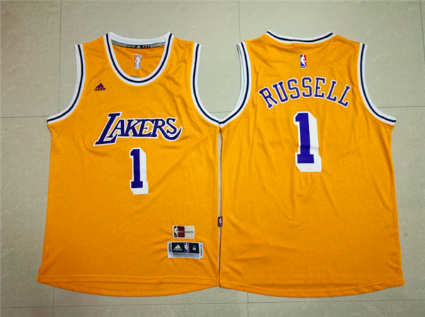 Buy Cheap Lakers #1 D'Angelo Russell Gear Gold Throwback Stitched SAH2337