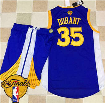 Buy Online Warriors #35 Kevin Durant Apparel Blue A Set The Finals Patch Stitched Suit OVH1864