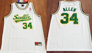Cheap Hot Sale Seattle Supersonics Limited Edition 34 NBA Ray Allen Soul Swingman Home White CXB3805