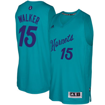 Cheap New Charlotte Hornets #15 Kemba Walker Teal 2016 Christmas Jersey Day Swingman NPS946
