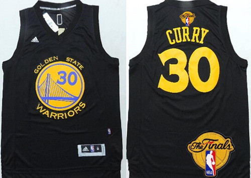 22821485b Cheap New Golden State Warriors  30 Clothing Stephen Curry Black With Gold  2016 The Finals Patch NMT20