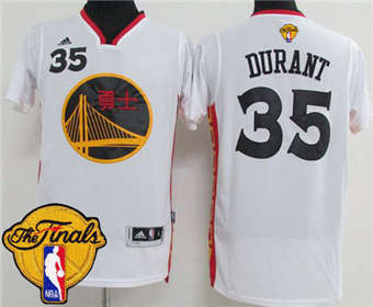 434646a91 Cheap Price Warriors  35 Kevin Durant White 2017 Chinese Clothing Year The Finals  Patch Stitched NCM1872