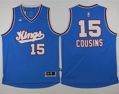 Durable Sacramento Kings #15 DeMarcus Cousins Light Clothing Blue Stitched MRQ3543
