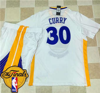 Genuine Warriors #30 Stephen Jerseys Curry White Long Sleeve A Set The Finals Patch Stitched Suit ZVU1854
