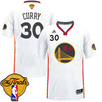 Hot Cheap Warriors #30 Stephen Curry White 2017 Chinese Year The Jerseys Finals Patch Stitched DZZ1852