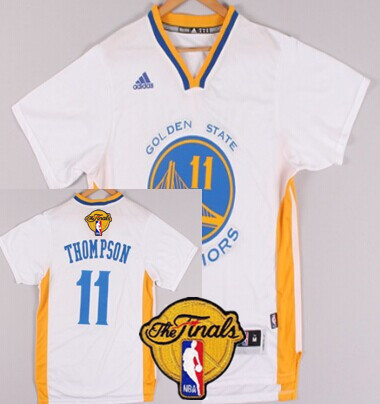 Hot Sale Cheap Merchandise Golden State Warriors #11 Klay Thompson White Short Sleeved 2016 The Finals Patch BOP8